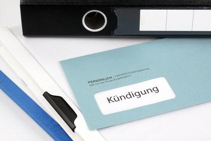 Briefumschlag mit Aufschrift Kündigung