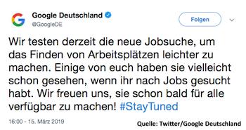 Tweet von Google Deutschland zur neuen Jobsuche