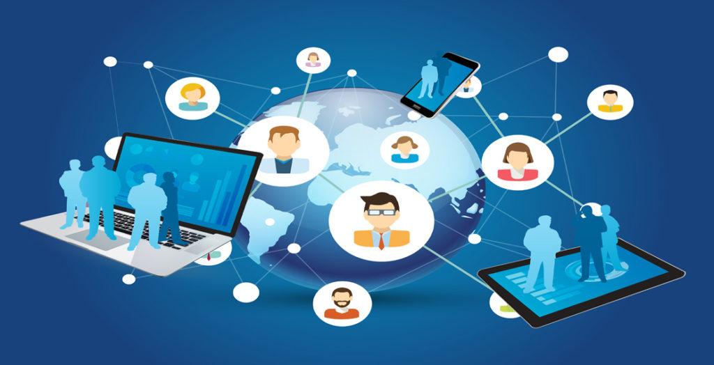 Weltkugel mit vernetzten Menschen