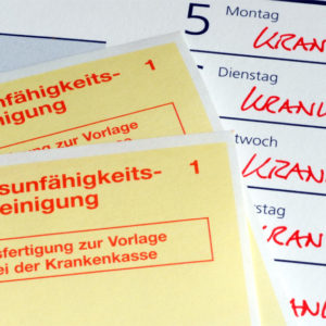 """Arbeitsunfähigkeitsbescheinigungen und Kalendereinträge mit dem Wort """"Krank"""""""
