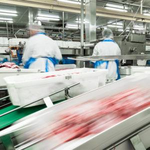 Blick in eine Fleischproduktionshalle