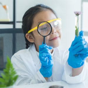 Nachwuchsforscherin untersucht Pflanze im Labor